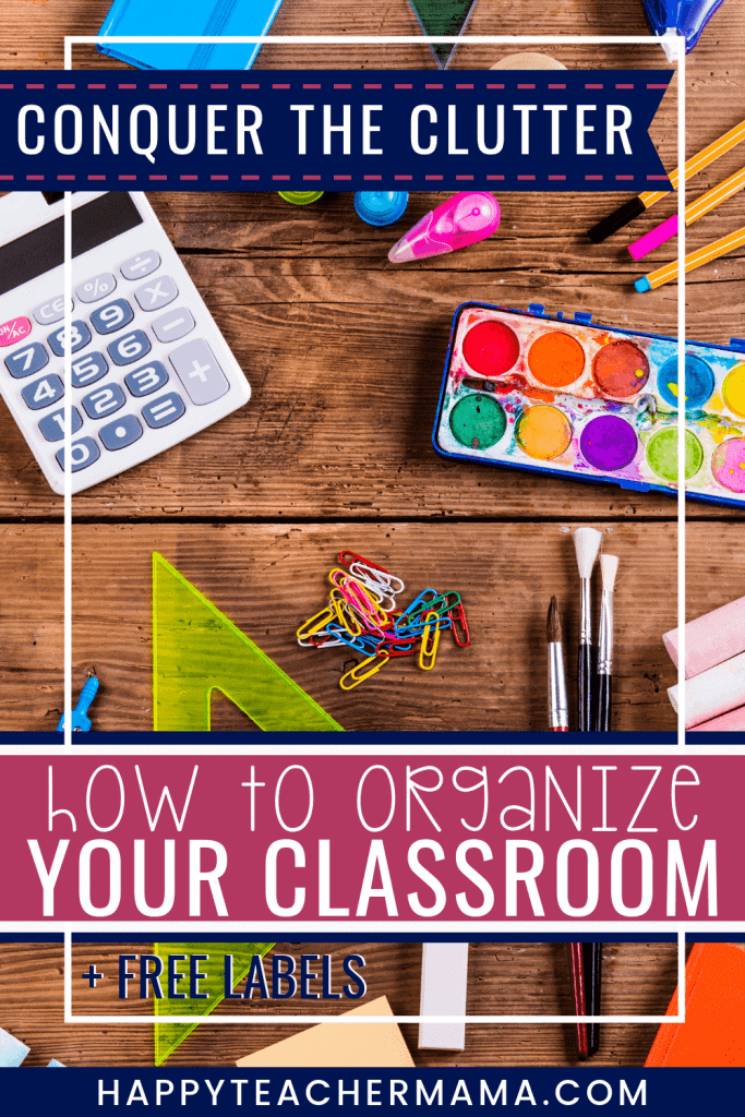 "Classroom organization is wonderful in theory, but hard to accomplish...especially in elementary classrooms. With the introduction of Marie Kondo and the KonMari method of decluttering, teachers everywhere are embracing the concept of ""less is more."" Find ideas and teacher hacks that will have you organizing all the things. There is even a set of free classroom storage labels! Decluttering your classroom just got a whole lot easier. #classroomorganization #teacherorganization #teacherhacks"
