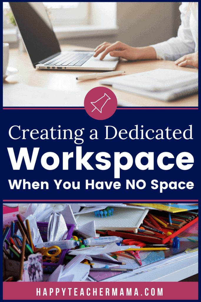 Do you find yourself needing a place to work, but having little to no space to call your own? Maybe you need a space to grade papers or work on lesson plans, but you just don't have anywhere to keep all of your stuff. Discover 3 common problems and some creative solutions for each one. #organization #teachers #homeschooling #workspace