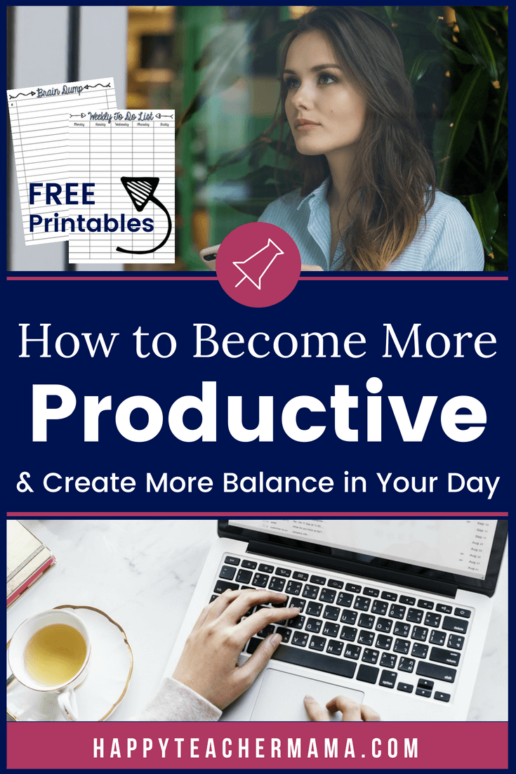 As a mom, wife, and teacher, do you struggle with productivity and balance?  You aren't alone.  While a perfect balance is utterly nonexistent, better balance and increased productivity are definitely attainable.  Find tips and FREE PRINTABLES for increasing your daily productivity and simultaneously add more balance to your life. #momlife #women #teachers #teacherlife #homeschoolers #freeprintables