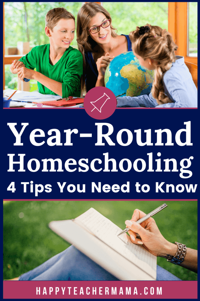 The concept of year round homeschooling can be daunting! What will the schedule look like? When will we start? These are all valid questions to ask as you try to create the perfect calendar for your kids. Discover four tips to help you make the right decision! And if you only do one thing on the list, make it the third. #yearroundhomeschooling #homeschooling #schoolathome