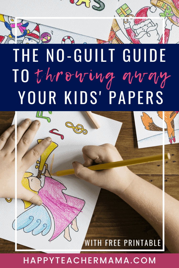 Trying to decide which kids' papers from school to keep and which ones to toss is difficult especially because your children completed them. However, find a no-guilt solution to only keeping the best papers with this free printable cheat sheet. #organization #kidspapers #homeschooling