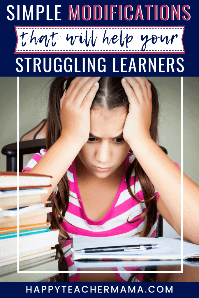 Helping struggling learners is the goal of every teacher. Whether it is through ideas or modifications, we all want to help the children in our care. With 4 unique tips to help all of your learners, #1 and #4 are the ones that I think will be the most beneficial for everyone! #accommodations #strugglinglearners #modifications