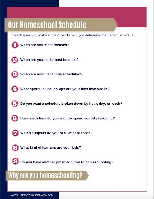 Homeschool Schedule Questions