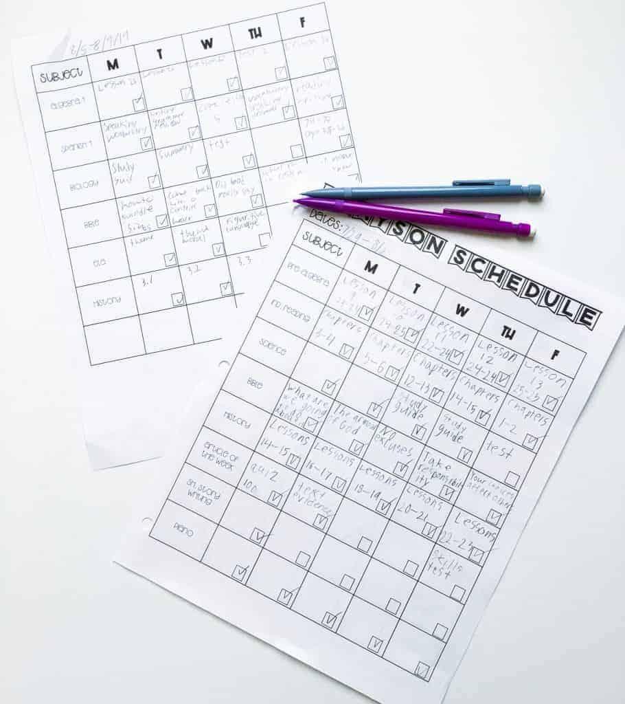 Homeschool block schedule for middle & high school