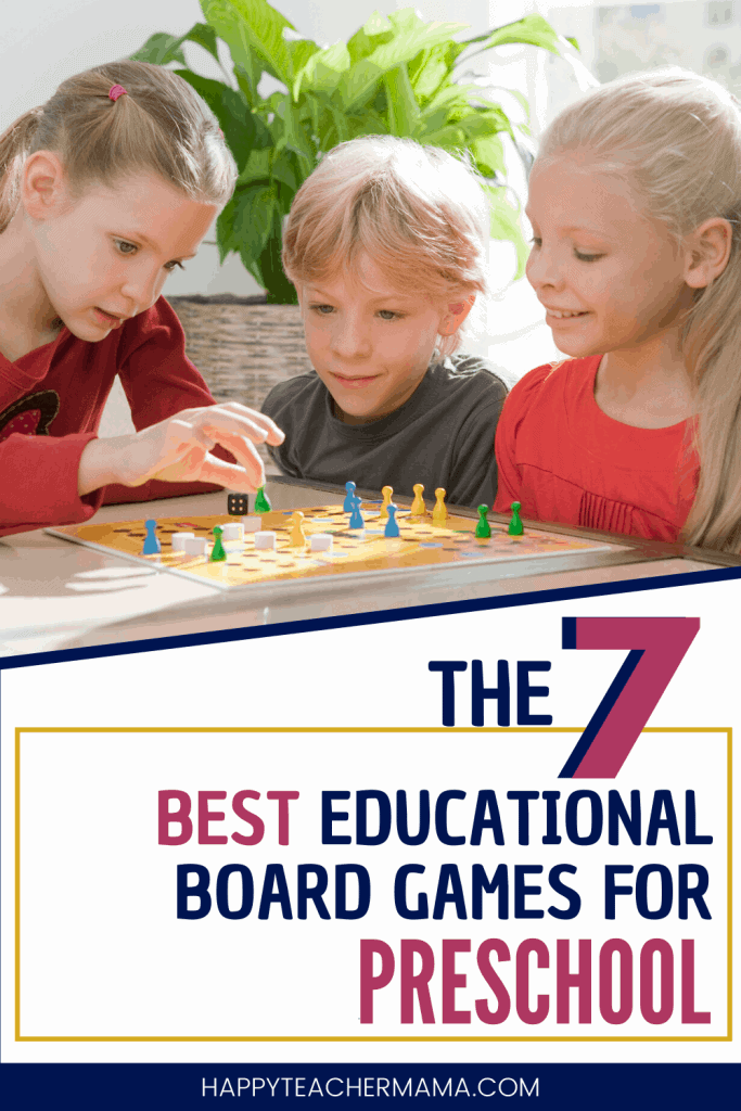 Kids playing one of the best educational board games for preschool.