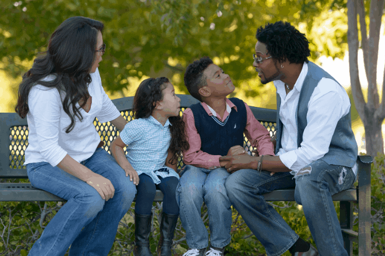 Family having a morning meeting