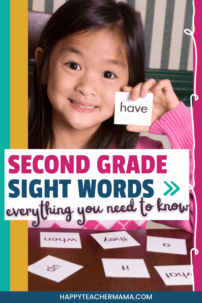Little girl with second grade sight words