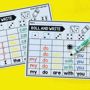 cards with markers to use with dice to practice sight words