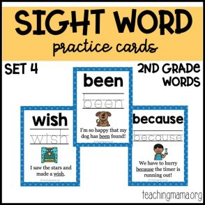 sight word practice cards for second graders with text
