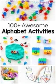 collage with learning activities for kindergarteners