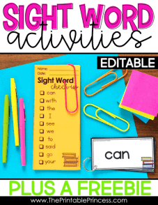 sight word activity for kindergarteners with text overlay