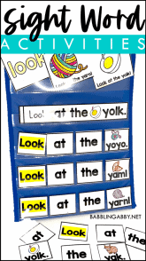 display of sight words for kindergarteners with text overlay