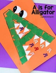 the letter A activity with paper shapes to make an alligator
