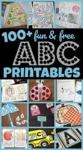 image collage of printables to use with kindergartners to help learn their letters