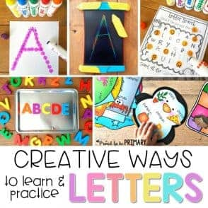 collages of images demonstrating activities you can do with a kindergartner to learn their letters