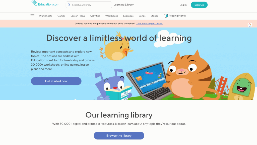 screenshot of Education.com homepage showing free learning games