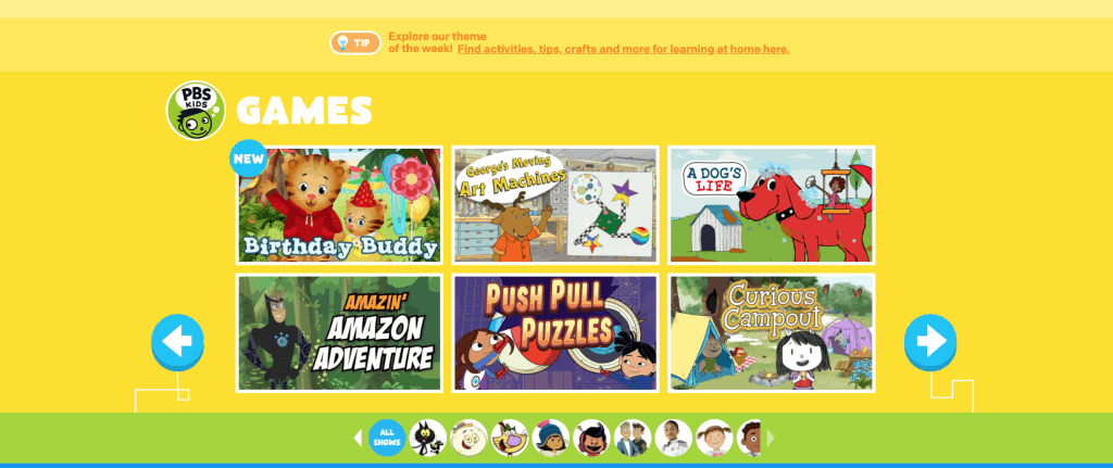 PBS Kids learning games page
