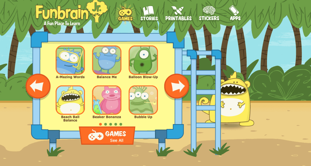 homepage of Fun Brain Jr. where kids can play games for free
