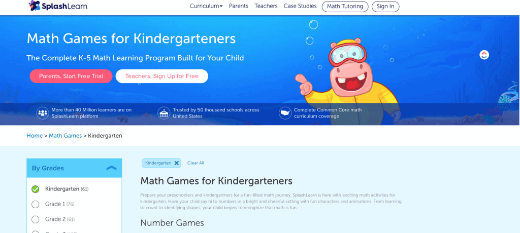 Splashlearn.com homepage where kids can use games to learn