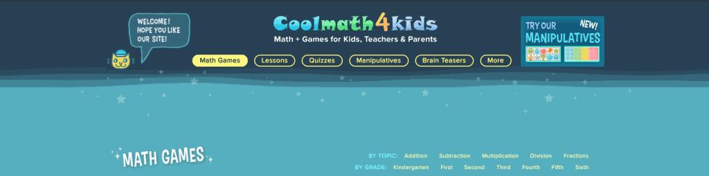 screenshot of cool math 4 kids