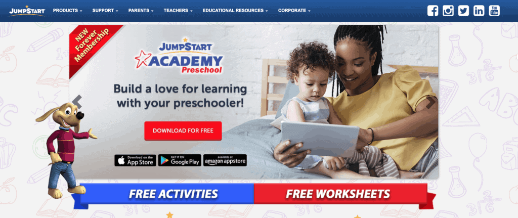 screenshot of jumpstart homepage where kids can play free learning games