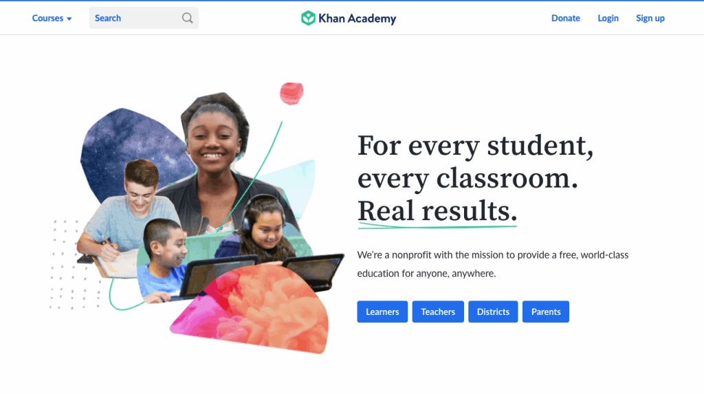 homepage for Khan academy