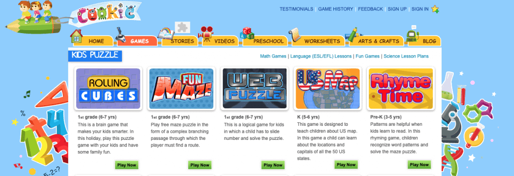 screenshot of home page showing kids learning games