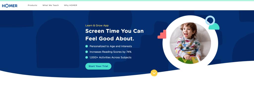 screenshot of HOMER homepage